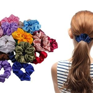24 X Silk Satin Elastic Hair Rope Scrunchie
